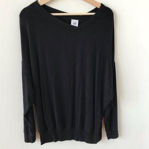 CABI black off centre v neck sweatshirt